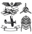 set aircraft elements vector image vector image