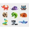 set flat design geometric animals icons vector image vector image
