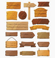 set isolated pointers signs or wooden planks vector image
