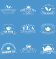 Set of tea logos with ribbons vector image vector image