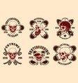 set skateboarding club emblems with skulls vector image