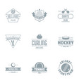 table tennis logo set simple style vector image vector image