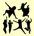 Teen people jumping and playing silhouette