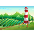 Three cute kids at the farm playing near the tower vector image vector image