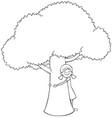 tree hugger line art vector image vector image