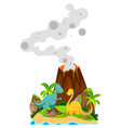 two dinosaurs at the base of volcano vector image vector image