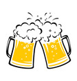 two hand drawn clinking beer mugs with foam vector image