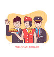 welcome aboard concept with air crew vector image vector image