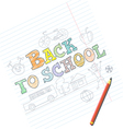 Welcome back to school card with kid sketches on n vector image