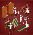 winery factory wine production line isometric vector image vector image