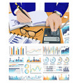 worker doing calculations on calculator project vector image vector image