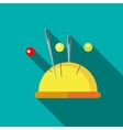 Yellow pincushion with pins icon flat style vector image vector image