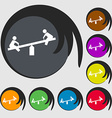 swing icon sign Symbol on eight colored buttons vector image