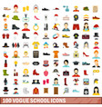 100 vogue school icons set flat style vector image vector image