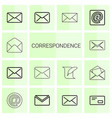 14 correspondence icons vector image vector image