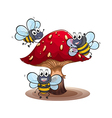 A big mushroom with smiling bees vector image vector image