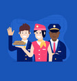 aircraft crew with stewardess offering food vector image