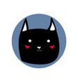 black cute cartoon style cat shape blue circle