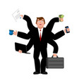 businessman and lots of hands performing many vector image vector image