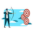 businessman trying to hit goal vector image