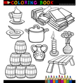 Cartoon Different Objects Coloring Page vector image vector image
