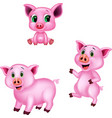 cartoon pig collection set vector image