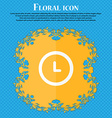 clock icon Floral flat design on a blue abstract vector image vector image