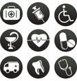 collection of medical themed icons black white vector image vector image