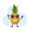 cute and funny pineapple character vector image vector image