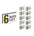 days left countdown time banner design vector image vector image
