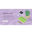 Desk with Mobile Phone Pencils Plant Note Book vector image vector image