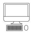 desktop computer icon in monochrome silhouette vector image