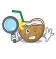 detective cocktail coconut character cartoon vector image vector image