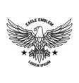 emblem template with eagle in engraving style vector image vector image