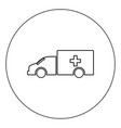 emergency car icon black color in circle isolated vector image vector image