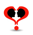 Faces with question marks shaped like heart vector image vector image