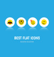 flat icon face set of pleasant cheerful winking vector image vector image