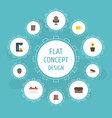 flat icons plant pot bookshop calculate and vector image vector image