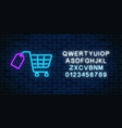 glowing neon supermarket shopping cart with tag vector image