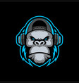 gorilla mascot logo esport vector image vector image