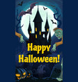 halloween night castle zombies and graveyard vector image vector image