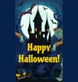 halloween night castle zombies and graveyard vector image vector image