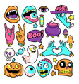 halloween patches in cartoon comic style vector image vector image