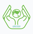 Hand holding world logo design safety care vector image vector image