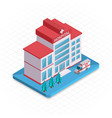Hospital building Isometric 3d pixel design icon vector image vector image
