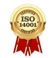 ISO 14001 certified - quality standard golden seal vector image vector image