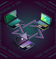 isometric colorful three laptops and vector image