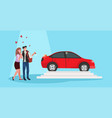 man giving woman keys to new car happy valentines vector image