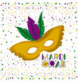 mardi gras poster with yellow carnival mask with vector image vector image