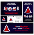 merry christmas and happy new year 2021 banners vector image vector image